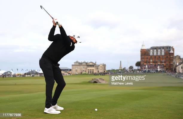 Matthew Southgate of England tees off on the 18th hole during Day four of the Alfred Dunhill Links Championship at The Old Course on September 29,...