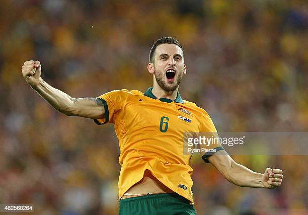 Matthew Spiranovic of Australia celebrates victory during the 2015 Asian Cup final match between Korea Republic and the Australian Socceroos at ANZ...