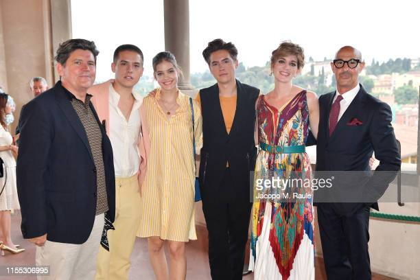 Matthew Sprouse Dylan Sprouse Barbara Palvin Cole Sprouse Felicity Blunt and Stanley Tucci attend the Salvatore Ferragamo Private Dinner at Palazzo...