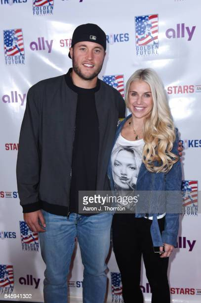 Matthew Stafford and Kelly Stafford arrive to Golden Tate's 3rd Annual Stars and Strikes Bowling Event on September 11 2017 in Detroit Michigan