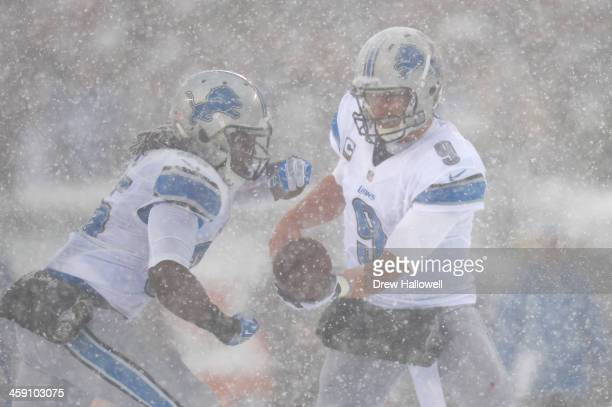 Matthew Stafford hands the ball off to Joique Bell of the Detroit Lions against the Philadelphia Eagles at Lincoln Financial Field on December 8 2013...