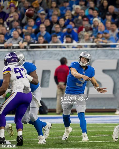 Matthew Stafford of the Detroit Lions attempts a pass against the Minnesota Vikings during an NFL game at Ford Field on November 23 2016 in Detroit...