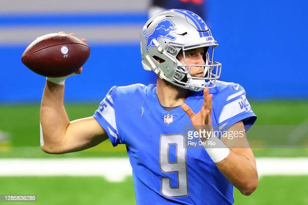 Matthew Stafford of the Detroit Lions attempts to pass during their game against the Washington Football Team at Ford Field on November 15, 2020 in...