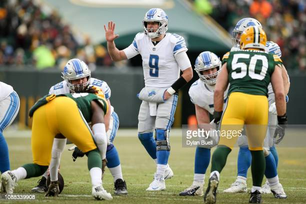 Matthew Stafford of the Detroit Lions calls out instructions in the third quarter against the Green Bay Packers at Lambeau Field on December 30 2018...
