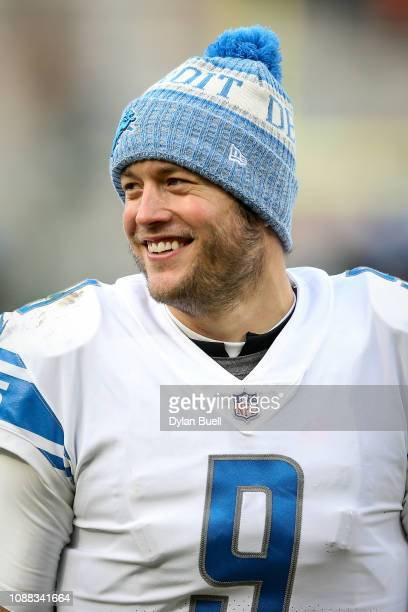 Matthew Stafford of the Detroit Lions celebrates after beating the Green Bay Packers 310 at Lambeau Field on December 30 2018 in Green Bay Wisconsin