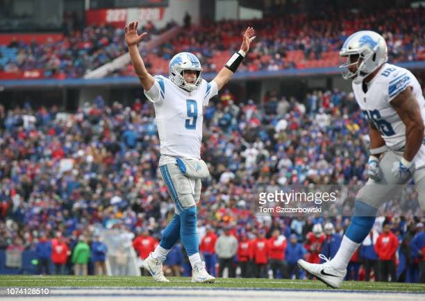 Matthew Stafford of the Detroit Lions celebrates after Zach Zenner ran the ball into the end zone for a touchdown in the second quarter during NFL...