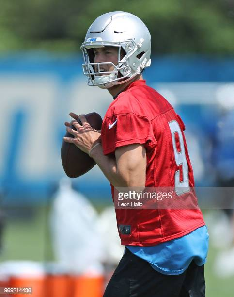 Matthew Stafford of the Detroit Lions gives directions during the afternoon mini camp session at the Detroit Lions Training Facility on June 7, 2018...