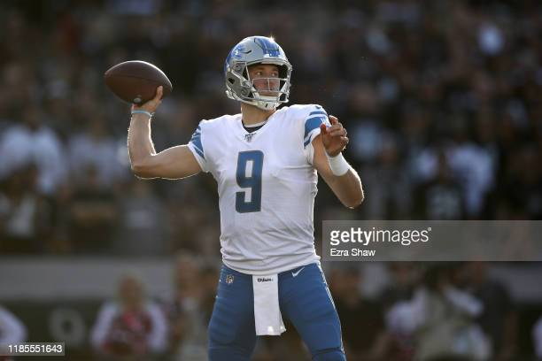 Matthew Stafford of the Detroit Lions in action against the Oakland Raiders at RingCentral Coliseum on November 03 2019 in Oakland California