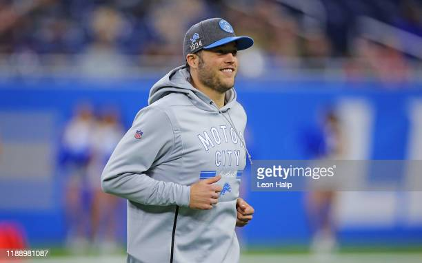 Matthew Stafford of the Detroit Lions jogs onto the field after the game against the Tampa Bay Buccaneers at Ford Field on December 15 2019 in...