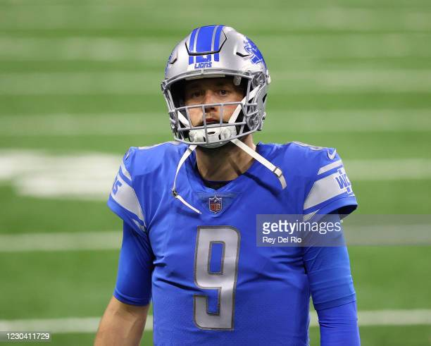 Matthew Stafford of the Detroit Lions looks on in the fourth quarter during a game against the Minnesota Vikings at Ford Field on January 3, 2021 in...