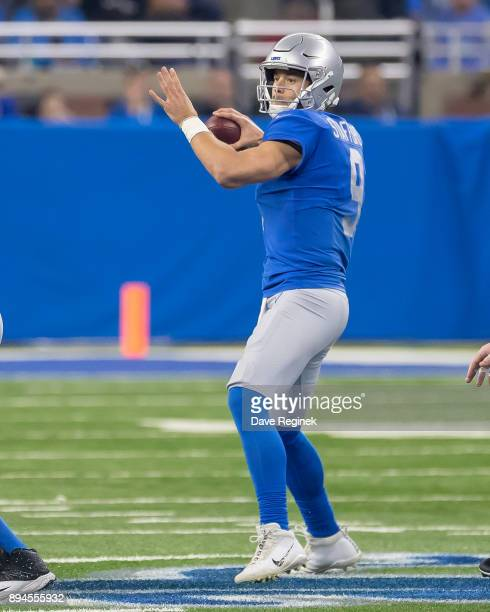 Matthew Stafford of the Detroit Lions looks to throw the football against the Minnesota Vikings during an NFL game at Ford Field on November 23 2016...