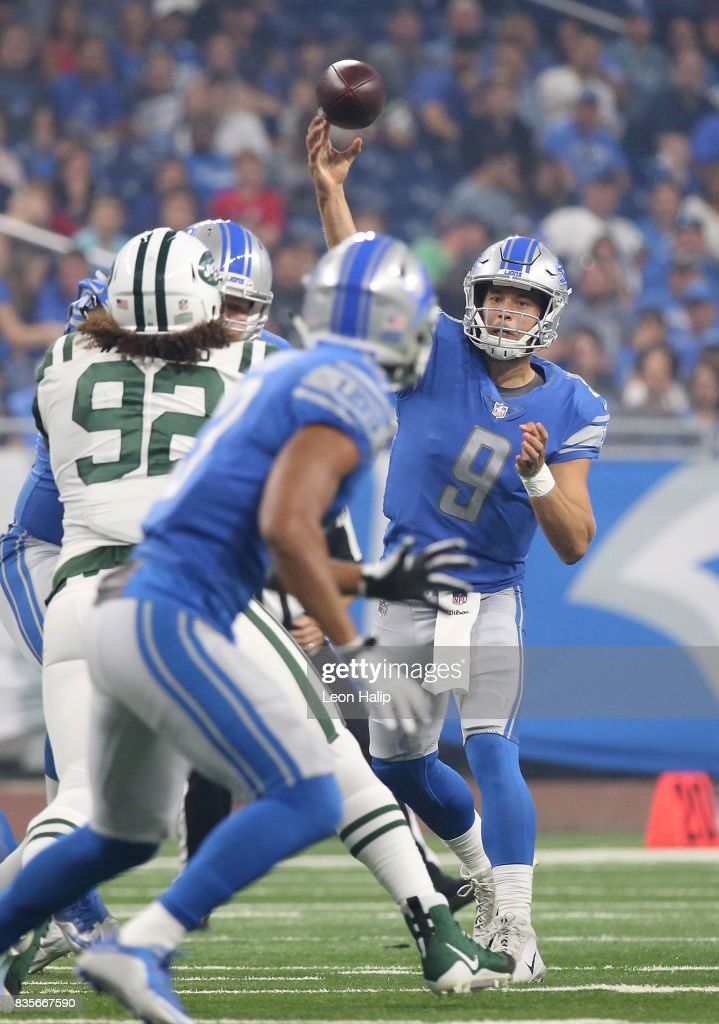 Matthew Stafford #9 of the Detroit Lions makes the pass during the first quarter of the preseason game against the New York Jets on August 19, 2017 at Ford Field in Detroit, Michigan. The Lions defeated the Jets 16-6.