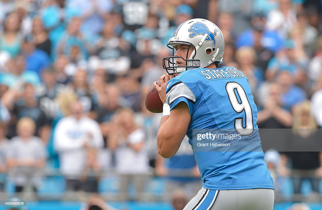 Matthew Stafford #9 of the Detroit Lions passes against the Carolina Panthers during their game at Bank of America Stadium on September 14, 2014 in Charlotte, North Carolina. The Panthers won 24-7.
