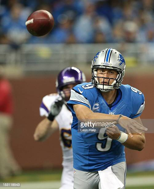 Matthew Stafford of the Detroit Lions passes during the first quarter of the game against the Minnesota Vikings at Ford Field on September 30 2012 in...