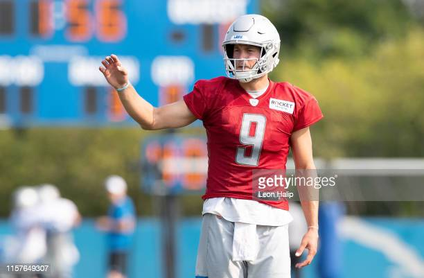 Matthew Stafford of the Detroit Lions runs a drill during the Detroit Lions Training Camp on July 25, 2019 at the Detroit Lions training facility in...