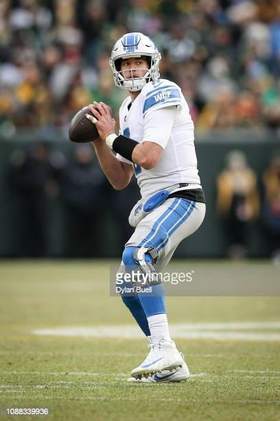 Matthew Stafford of the Detroit Lions throws a pass in the third quarter against the Green Bay Packers at Lambeau Field on December 30 2018 in Green...