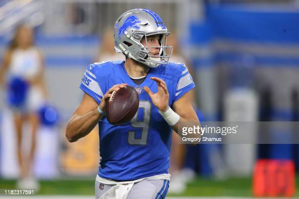 Matthew Stafford of the Detroit Lions throws a second half pass against the Minnesota Vikings at Ford Field on October 20, 2019 in Detroit, Michigan....