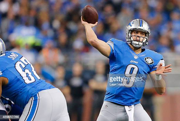 Matthew Stafford of the Detroit Lions throws a second quarter pass against the Chicago Bears at Ford Field on November 27 2014 in Detroit Michigan