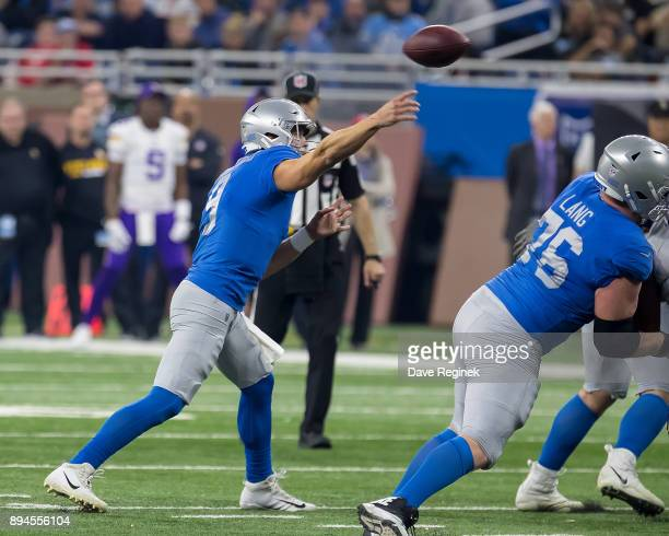 Matthew Stafford of the Detroit Lions throws the football against the Minnesota Vikings during an NFL game at Ford Field on November 23 2016 in...