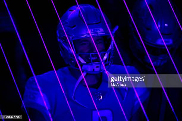 Matthew Stafford of the Detroit Lions waits to take the field prior to the game against the Indianapolis Colts at Ford Field on November 01, 2020 in...