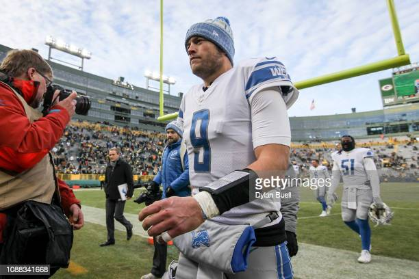 Matthew Stafford of the Detroit Lions walks off the field after beating the Green Bay Packers 310 at Lambeau Field on December 30 2018 in Green Bay...