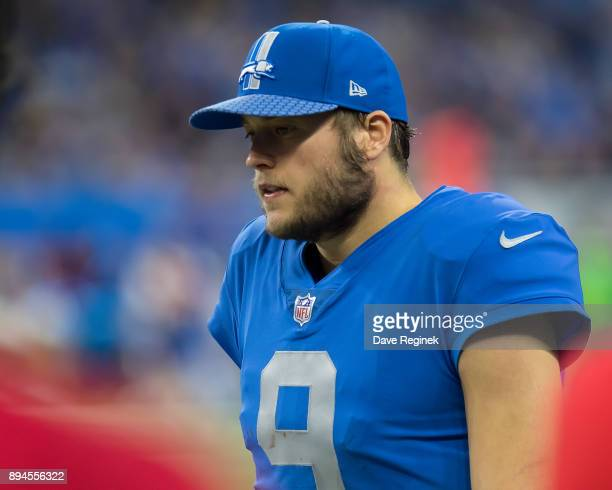 Matthew Stafford of the Detroit Lions walks the side lines during an NFL game against the Minnesota Vikings at Ford Field on November 23 2016 in...
