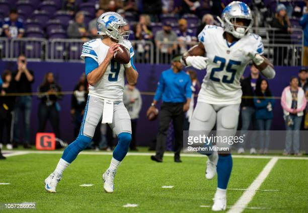 Matthew Stafford of the Detroit Lions warms up before the game against the Minnesota Vikings at US Bank Stadium on November 4 2018 in Minneapolis...