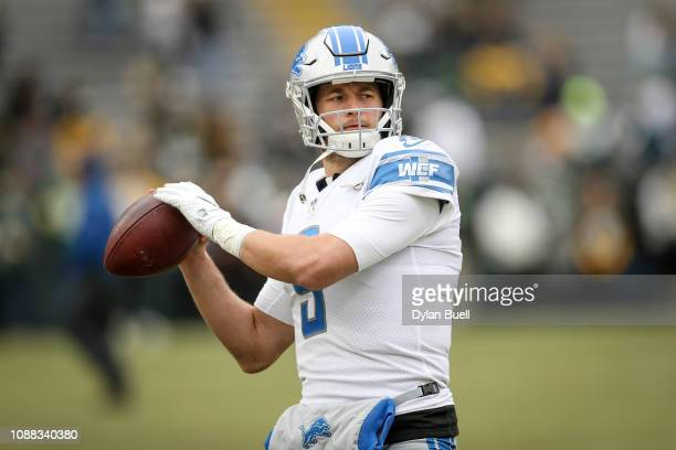 Matthew Stafford of the Detroit Lions warms up before the game against the Green Bay Packers at Lambeau Field on December 30 2018 in Green Bay...