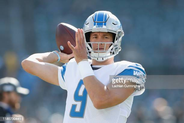 Matthew Stafford of the Detroit Lions warms up before the game against the Oakland Raiders at RingCentral Coliseum on November 03 2019 in Oakland...