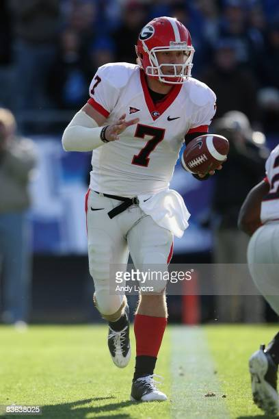 Matthew Stafford of the Georgia Bulldogs drops back to pass during the game against the Kentucky Wildcats at Commonwealth Stadium on November 8, 2008...