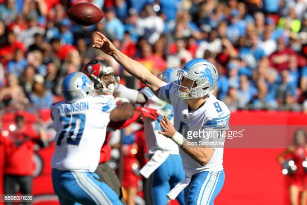 Matthew Stafford of the Lions throws the ball upfield during the regular season game between the Detroit Lions and the Tampa Bay Buccaneers on...