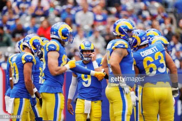 Matthew Stafford of the Los Angeles Rams huddles with his team during the first half against the New York Giants at MetLife Stadium on October 17,...