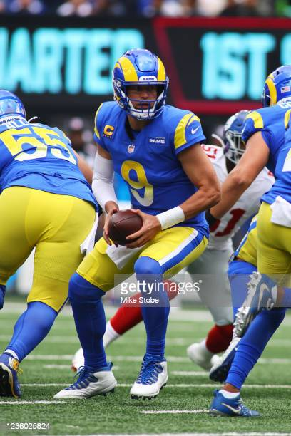 Matthew Stafford of the Los Angeles Rams in action against the New York Giants at MetLife Stadium on October 17, 2021 in East Rutherford, New Jersey....
