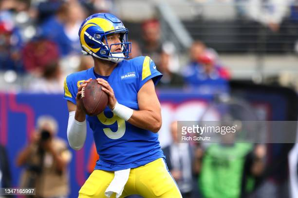 Matthew Stafford of the Los Angeles Rams in action against the New York Giants during a game at MetLife Stadium on October 17, 2021 in East...