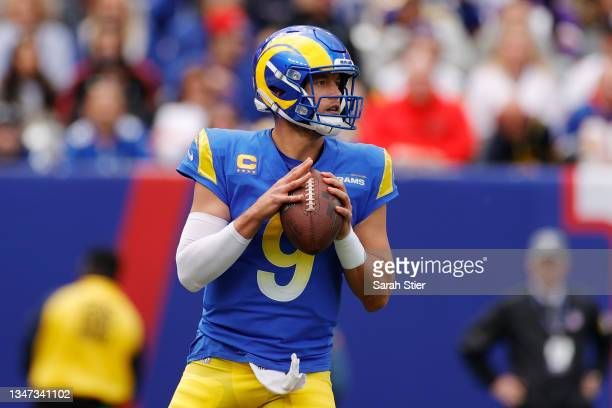 Matthew Stafford of the Los Angeles Rams looks to pass during the first half against the New York Giants at MetLife Stadium on October 17, 2021 in...