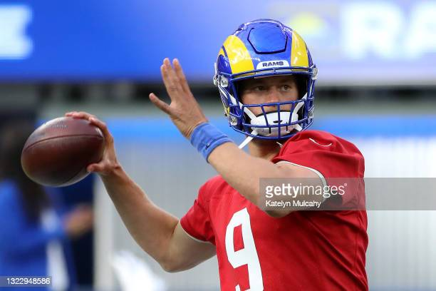 Matthew Stafford of the Los Angeles Rams throws the ball during open practice at SoFi Stadium on June 10, 2021 in Inglewood, California.