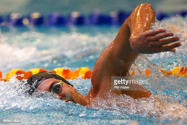 Matthew Stanley competes in the Mens 400m freestyle during the New Zealand Swimming Championships at West Wave Waitakere on April 14, 2015 in...