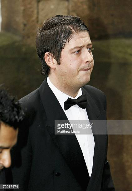 Matthew Stevens best friend of Paul Hunter attends the funeral of Paul Hunter funeral Leeds Parish Church on October 19 2006 in Leeds England The...