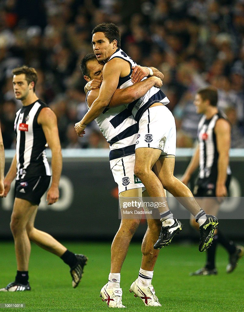 Matthew Stokes of the Cats celebrates a goal with James Podsiadly during the round nine AFL match between the Collingwood Magpies and the Geelong Cats at Melbourne Cricket Ground on May 21, 2010 in Melbourne, Australia.