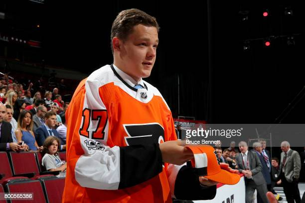 Matthew Strome celebrates after being selected 106th overall by the Philadelphia Flyers during the 2017 NHL Draft at the United Center on June 24...