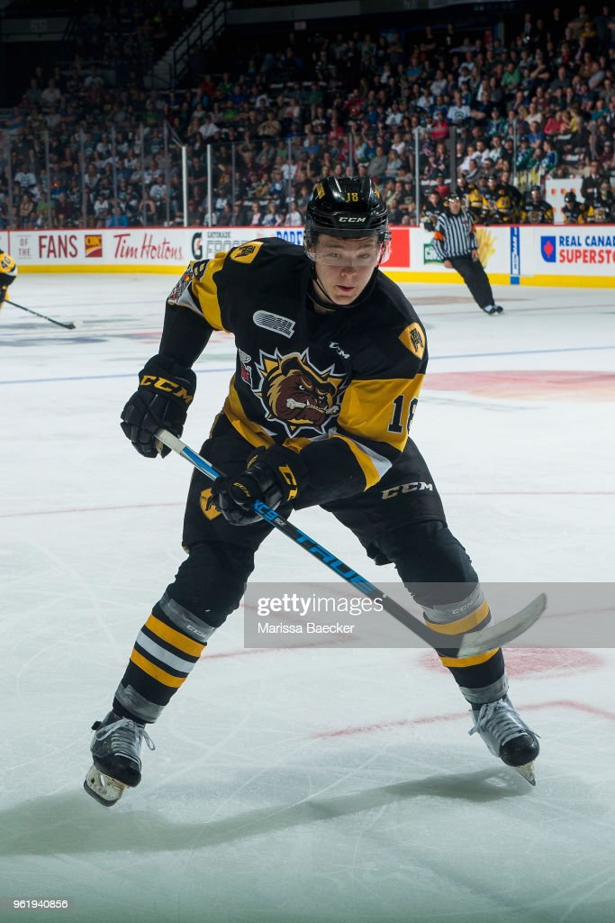 Matthew Strome #18 of the Hamilton Bulldogs skates against the Swift Current Broncos at Brandt Centre - Evraz Place on May 21, 2018 in Regina, Canada.