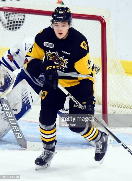 Matthew Strome of the Hamilton Bulldogs turns up ice against the Mississauga Steelheads during game action on December 10 2017 at Hershey Centre in...