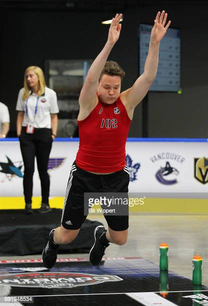 Matthew Strome performs the Long Jump during the NHL Combine at HarborCenter on June 3 2017 in Buffalo New York