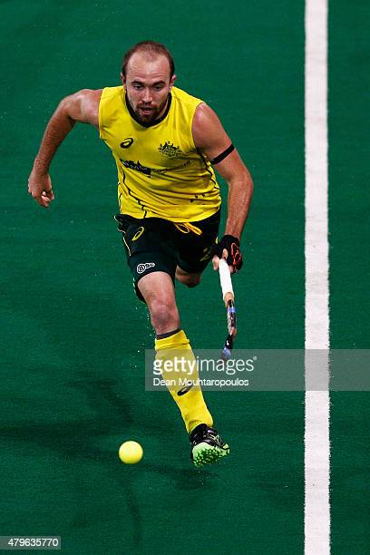 Matthew Swann of Australia in action during the Fintro Hockey World League SemiFinal match between Australia and Great Britain held at KHC Dragons...