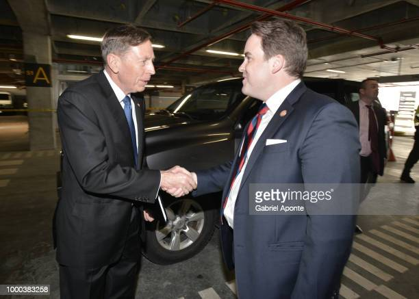 Matthew Swift CoFounder Chairman and CEO of Concordia gives farewell to Juan Manuel Santos President of Colombia with and Gen David H Petraeus...