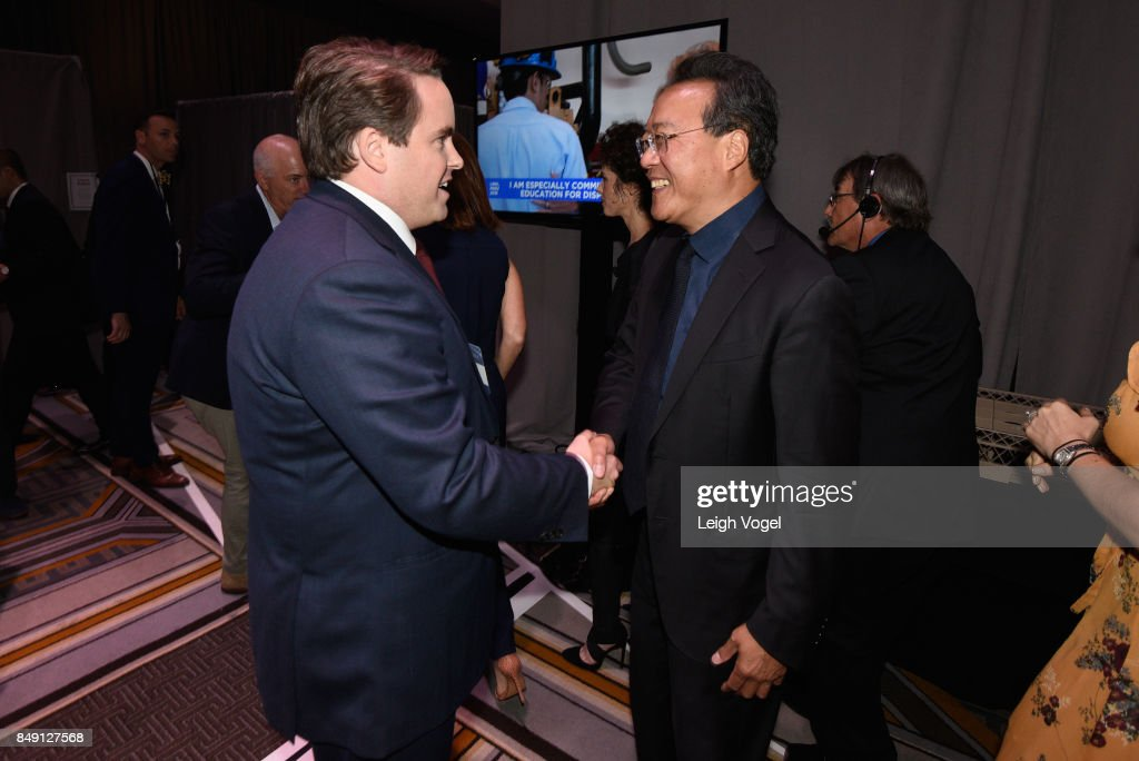 Matthew Swift, Co-founder, Chairman, CEO greets Cellist Yo-Yo Ma backstage at The 2017 Concordia Annual Summit at Grand Hyatt New York on September 18, 2017 in New York City.