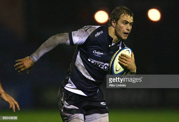 Matthew Tait of Sale Sharks runs with the ball during the LV Anglo Welsh Cup at Edgeley Park on November 13 2009 in Stockport England