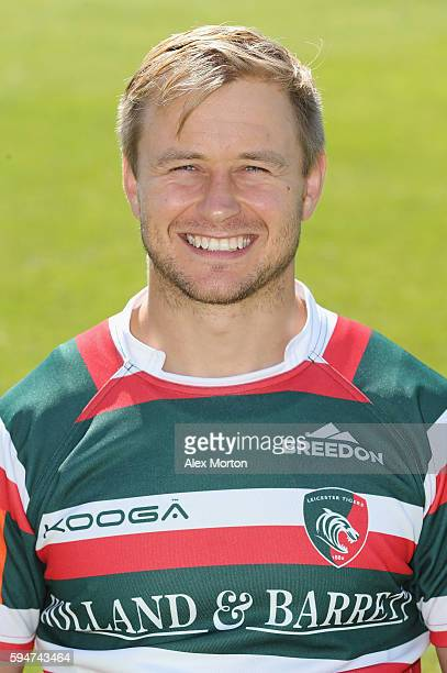 Matthew Tait poses for a portrait during the Leicester Tigers squad photo call for the 20162017 Aviva Premiership Rugby season on August 24 2016 in...