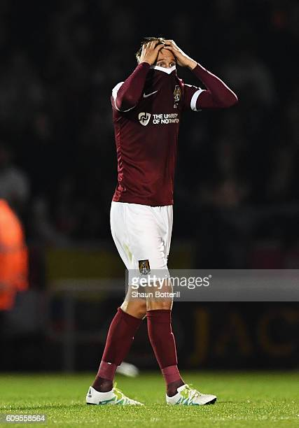 Matthew Taylor of Northampton Town looks dejected during the EFL Cup Third Round match between Northampton Town and Manchester United at Sixfields on...
