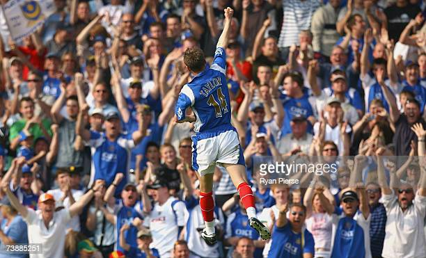 Matthew Taylor of Portsmouth celebrates after scoring his teams second goal during the Barclays Premiership match between Portsmouth and Newcastle...